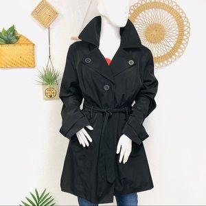 London Fog   Short Black Trench Coat Jacket